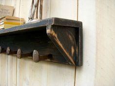 rustic wall art | Rustic Wall Decor - Shelf - Five Railroad Spike Hooks - ... | Craft I ...