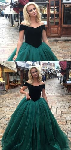 dark green prom dress, ball gowns,velvet evening gowns,emerald green prom dress,emerald green quinceanera dress,princess prom dresses P0086