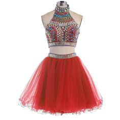 Kivary Colorful Gold Beaded 2 Pieces Tulle A Line Short Backless Prom Homecoming Dresses Red US 20W. Fabric is tulle and taffeta, Open back designs with straps, Sexy 2 pieces split A line short knee length skirt, Gold beading sequins with silver red blue crystals rhinestones mixed heavy beaded top. Sheer hatler with high neckline see through. This is a custom made dress even if standard size. Please find a soft tape to measure yourself and check size chart, keep tape loose, otherwise will…