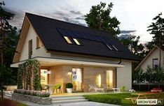 Projekty domów ARCHIPELAG - Lila ECONOMIC Bungalow Haus Design, Tiny House Design, Style At Home, Diy Home Decor For Teens, House Construction Plan, Two Storey House, Dome House, Tiny House Cabin, Facade House