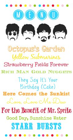 Pretty Bitty Bugs: Party On! Judah's Beatles Birthday Party: Party Menu