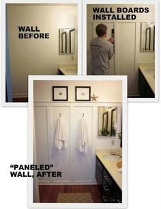 Upstairs kids' bathroom idea.  Maybe paint the center wall sections different colors.  Blue/yellow?