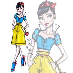 Hayden Williams Fashion Illustrations: Disney Diva Fashionistas by Hayden Williams: Snow White Disney Princess Fashion, Disney Princess Art, Princess Style, Disney Style, Disney Love, Disney Art, Tiana Disney, Hayden Williams, Disney Divas