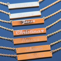 Silver bar necklace personalized necklace name by BarnecklaceMo