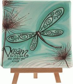New Lisa Pollock decorative art wall canvas, Blue Dragonfly, great gift idea Wine And Canvas, Mini Canvas, Wall Canvas, Canvas Art, Canvas Ideas, Canvas Paintings, Painted Canvas, Mini Toile, Dragonfly Art
