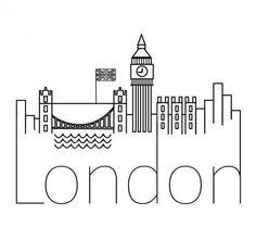 42 new ideas for wall graffiti cities London Logo, London Art, Travel Doodles, City Drawing, City Logo, Skyline Silhouette, London Landmarks, London Skyline, Art Graphique