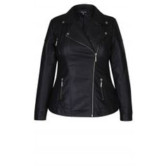 With its classic styling, our Stitched Biker Jacket provides a tough edge to any outfit this winter. This faux leather jacket features asymmetrical zip fastening, full length sleeves with shoulder pads and snap button fastening at cuff, welt pockets at hips with zip fastening, stitch detailing at the shoulders and sides and is lined.