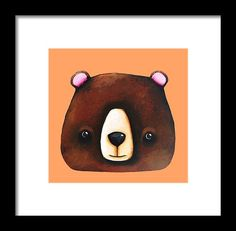 Whimsical Framed Print featuring the painting The Big Brown Bear by Lucia Stewart