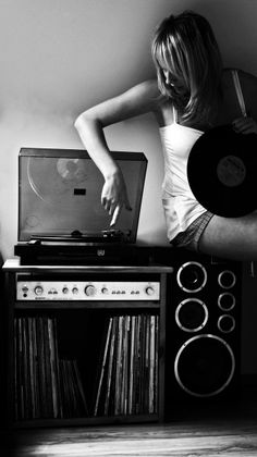listen to music... drown out the world around you | black white photography | records | old school | vinyl | play it loud | record player