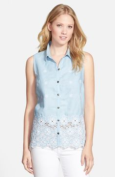 KUT+from+the+Kloth+'Donna'+Sleeveless+Eyelet+Embroidered+Chambray+Shirt+available+at+#Nordstrom