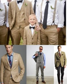 I kind of like the suspenders that are tan with the groom in a tan suit, ring bearer in bow tie and suspenders