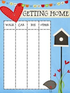 "FREE Getting Home Poster--I think I am over doing it with the ""getting home""  ideas, but the first week of school is hectic."
