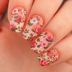 Vintage Gradient Floral Nails nail art by Kristin (Lacquerstyle)