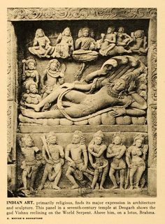 Vishnu reclining on the World Serpent Dashavatara Temple, Deogarh, Uttar Pradesh 1942 Halftone Print