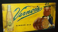 Vintage Vernor's Ginger Ale Sign with Woody the Gnome - A little unusual . . .