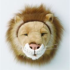 Bring your children's bedroom to life, with the Wild and Soft Lion trophy head. The Lion Trophy Head is large and friendly. Each trophy head includes a hanging tab so that they can easily be displayed on the wall. Peluche Lion, Animal Heads, Animal Decor, Plush Animals, Stuffed Animals, Baby Boutique, Lions, Playroom, Wildlife