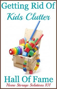 Getting rid of kids clutter: list of ideas of things to declutter plus examples of what people have tossed {on Home Storage Solutions 101}
