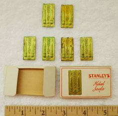 6 Vintage Greetings Candles Metal Seals Stickers, Stanley Mfg. Co.