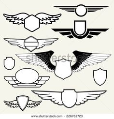 retro vintage insignias or logotypes with wings. vector design elements business signs logos identity labels badges and objects. Badge Design, Logo Design, Graphic Design, Flight Logo, Aviation Logo, Angels Logo, Owl Logo, Photo Libre, Wings Design