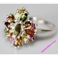 Artisan Genuine Pink Green Yellow Multi Tourmaline Gemstone 925..