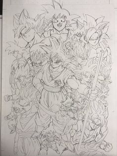 Goku's Many Forms Dragon Ball Gt, Goku All Forms, Dbz Drawings, Goku Pics, Ball Drawing, Anime Character Drawing, Z Arts, Queen Of Hearts Tattoo, Fanart
