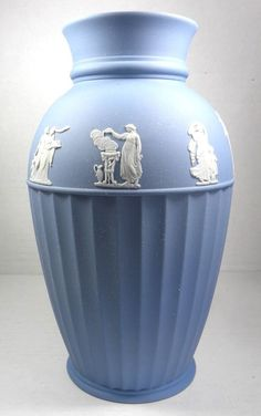 "Rare Vintage 10"" Wedgwood Jasperware Acanthus Blue Vase Muses Pattern #Wedgwood"