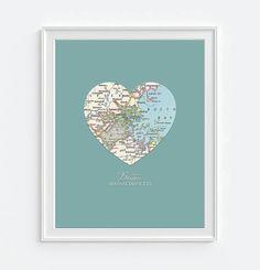 Boston Massachusetts Vintage Heart Map - Custom Colors - Couples- Engagement…