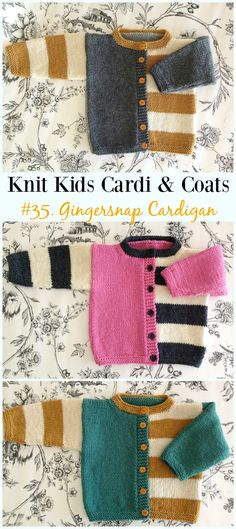 Kids Cardigan Sweater Free Knitting Patterns Gingersnap Cardigan Free Knitting Pattern - Kids Sweater Coat Free Patterns Always wanted to discover ho. Kids Knitting Patterns, Knitting For Kids, Easy Knitting, Baby Patterns, Knitting Children Sweater, Baby Knitting Patterns Free Cardigan, Knitting Sweaters, Sock Knitting, Knitting Tutorials