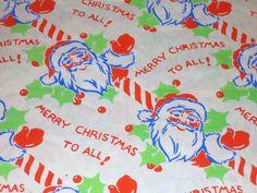 Vtg Merry Christmas to All Wrapping Paper Gift Wrap 1940 WW2 Litho Santa Waving | eBay