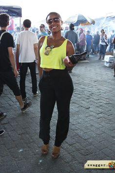 90s inspired neon crop top + black pants