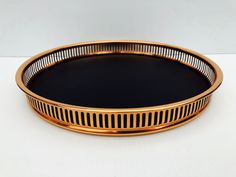 """Excited to share this item from my #etsy shop: Vintage, Coppercraft Guild, Tray with Reticulated Copper, 1 3/4"""" Border and Black Faux Leather Bottom, Original Foil Sticker on Bottom #copper #wedding #black #metal #vintagetray #collectibletray #coppertray #coppercraftguild #bartray Percolator Coffee Maker, Bar Tray, Copper Tray, Copper Wedding, Wedding Black, Black Faux Leather, Black Metal, Nickel Silver, Copper Color"""