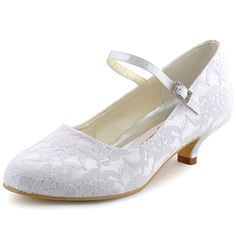 *This shoe with a bow on the back by ankle.* Elegantpark 100120 White Women's Round Toe Cone Heel Satin Lace Buckle Wedding Bridal Shoes US 10 Elegantpark http://www.amazon.com/dp/B00QK78BRQ/ref=cm_sw_r_pi_dp_-liWub1HNNK5J