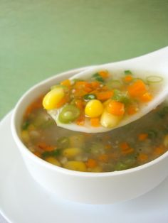 Sweet Corn, cream style: 1 tin Sweet corn kernels: 1/2 cup (boiled) Vegetable stock: 1.25 litres (5 cups) OR water French beans: 8 (finely chopped)