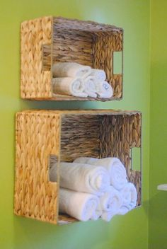 Easy Bathroom Towel Storage Idea-- such a clever idea for small spaces! She made this for just a few dollars and in under 15 minutes! ideas for small bathrooms cheap DIY Bathroom Towel Storage in Under 5 Minutes Bathroom Towel Storage, Bathroom Baskets, Bathroom Towels, Laundry Baskets, Toilet Storage, Bathroom Vanities, Diy Storage For Small Bathroom, Kitchen Storage, Clothes Storage Ideas For Small Spaces