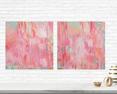 Pink Coral and Gold Abstract Paintings Set of Two Gold Pink