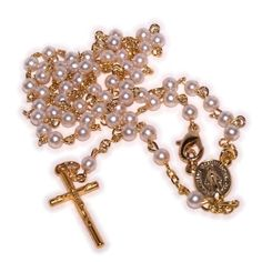 Mini-Pearl Rosary - very delicate and strong made with Gold plated Alpaka silver and comes in Cross shape box - Necklace *** You can get additional details at the image link. (This is an affiliate link and I receive a commission for the sales)