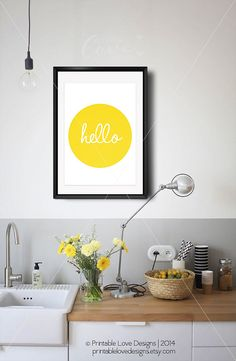 || HELLO || ...a simple word that makes a strong statement. This happy, bright yellow art print adds that pop of colour and happiness to