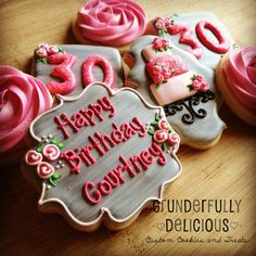 Tiered Cake Birthday Decorated Cookies by Grunderfully Delicious