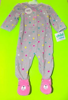 Child Of Mine Carters Fleece Pink Kitten Footed Sleeper Pajamas NWT Size 3 a6ef39560
