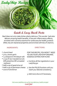 Want to serve pasta with pesto sauce to your loved ones this weekend? Follow this pesto recipe made with your LadyShip Organic Essence Extractor! Enjoy!