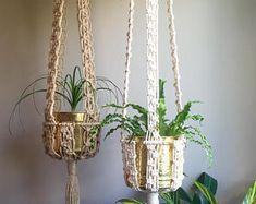 """65""""+ MCM Macramé planta perchas Retro de los 70""""Kali""""en yute o algodón de la cuerda del yute largo grande mediados de siglo modernos decoración Boho Hippie"""