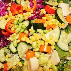 Crunchy rainbow salad. I love some purple cabbage, edamame, cucumbers, and peppers in my salad for that extra crunch and savor. The dressing was tahini zucchini lemon beet and it was super creamy when you add some hot water before you blend up.
