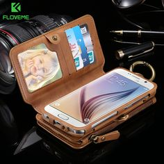 FLOVEME Folded Wallet Case For Samsung Galaxy S6 S6Edge Plus S7 Note 5 4 3 Phone Bag Cases For Iphone 7 7Plus 6 6S 6S 6Plus 5S //Price: $25.98      #followme