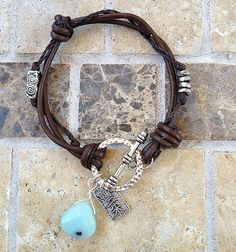Leather and gemstone knotted bracelet