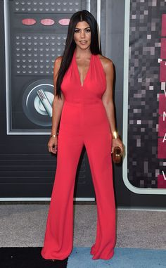 Kourtney Kardashian from 2015 MTV Video Music Awards Red Carpet Arrivals  Hot mama! Kourt shuts down the red carpet in a punchy jumpsuit.