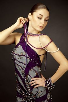 Steel and Purple Latin dress with Pearls – Ballroom Sparkle Pearl Dress, Designer Dresses, Sparkle, Steel, Couture, Pearls, Designer Gowns, Glow, Beads