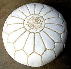 moroccan ottoman: white