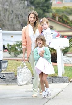Jessica Alba and kids in white with coordinating pastels | find matching styles at meNmommy.com