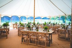 Antique trestle tables and natural beech wooden folding chairs furnish this marquee and make for a very stylish wedding. Marquee Hire, Marquee Lights, Marquee Wedding, Marquee Decoration, Table Decorations, Trestle Tables, Wooden Folding Chairs, Wedding Chairs, Surrey