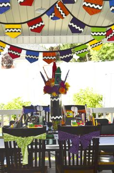 rainbow crayon party {styling, hand-sewn felt bunting/placemats/centerpieces, and printables by Love the Day on Etsy}